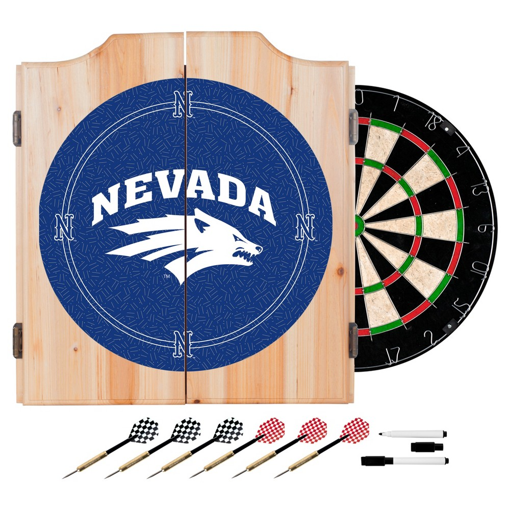NCAA Nevada Wolf PackWood Dart Cabinet Set - Honeycomb, Nevada Wolf Pack