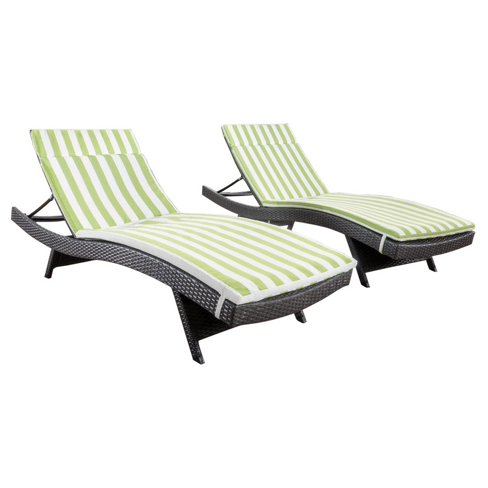 Salem Set of 2 Gray Wicker Adjustable Chaise Lounge - Green and White Stripe - Christopher Knight Home, Green + White Stripe