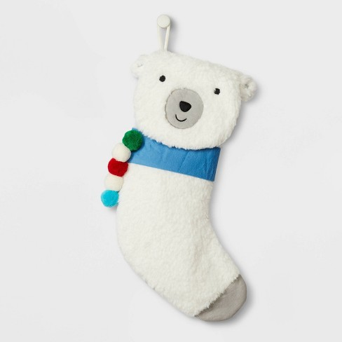 Bear Christmas Stocking.Fuzzy Polar Bear Christmas Stocking White Wondershop