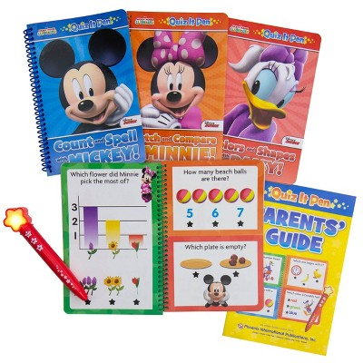 Pi Kids Disney Mickey Mouse Clubhouse Mickey & Minnie Mouse Deluxe Quiz It Pen with 4 Books and Bonus Stickers