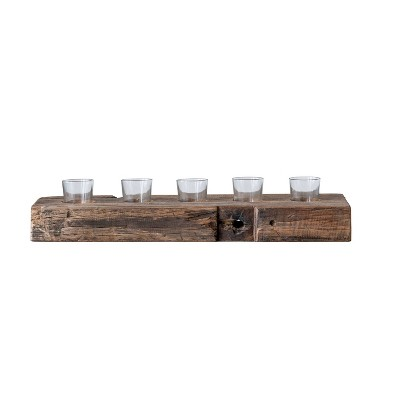 """23"""" x 5"""" Reclaimed Wood Five Votive Candle Holder Brown - 3R Studios"""