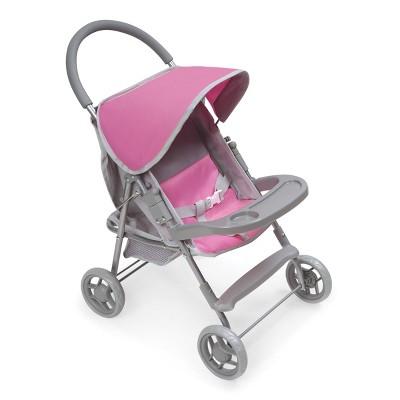 Glide Folding Single Doll Stroller - Gray/Pink