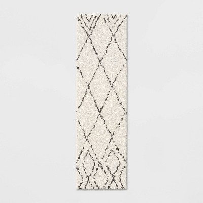 2'X7' Diamond Patterned Shag Woven Accent Rug Black - Project 62™