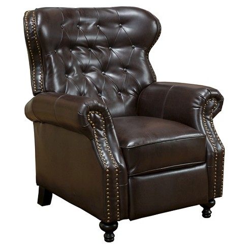 Walder Bonded Leather Recliner Club Chair - Brown - Christopher Knight Home - image 1 of 4