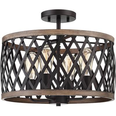 "Franklin Iron Works Rustic Farmhouse Ceiling Light Semi Flushmount Fixture Bronze Woodgrain 16"" Wide 4-Light Open Cage for Bedroom"