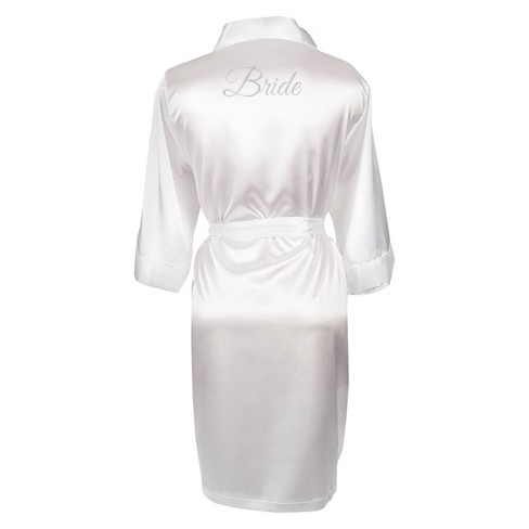 fe2d29aad273 White Satin Bride Robe with Flip Flops with Silver Thread. Shop all Cathy s  Concepts