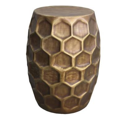 "20.5"" Aluminum Drum Shape Honeycomb End Accent Bedside Table Brown - Benzara"