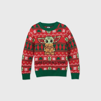 Toddler Boys' Star Wars Baby Yoda Ugly Christmas Sweater - Red 3T