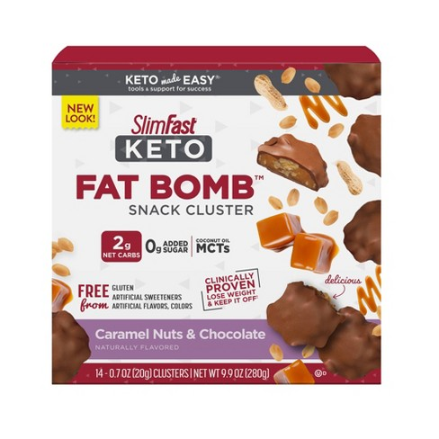 SlimFast Keto Fat Bomb Snack Cluster - Caramel Nuts & Chocolate - 14ct - image 1 of 4