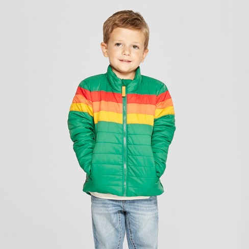 Toddler Boys' Rainbow Midweight Puffer Jacket - Cat & Jack™ Green - image 1 of 3