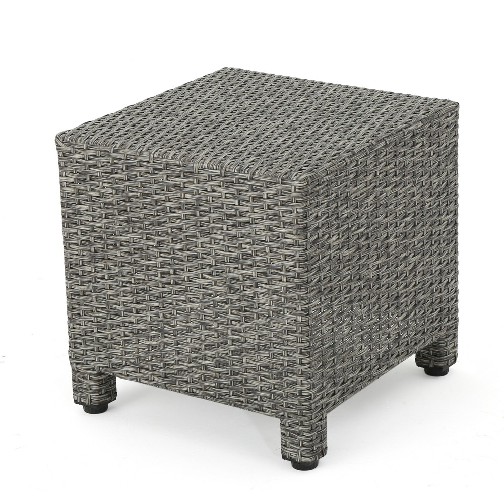 Puerta Wicker Side Table - Mixed Black - Christopher Knight Home