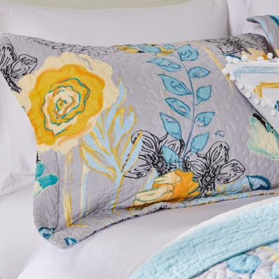 Greenland Home Fashion Watercolor Dream 100% Cotton Quilted Pillow Sham, Gray