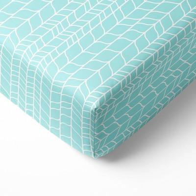 Bacati - Safari Animals Aqua Grid Print 100 percent Cotton Universal Baby US Standard Crib or Toddler Bed Fitted Sheet