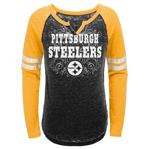 4775b14d3 NFL Pittsburgh Steelers Girls  Fashion Team Alt Color Burnout Long Sleeve T- Shirt   Target