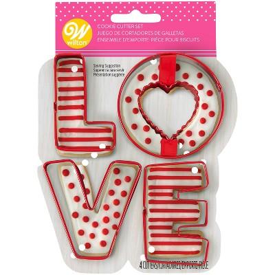 4pk Metal Love Cookie Cutters - Wilton