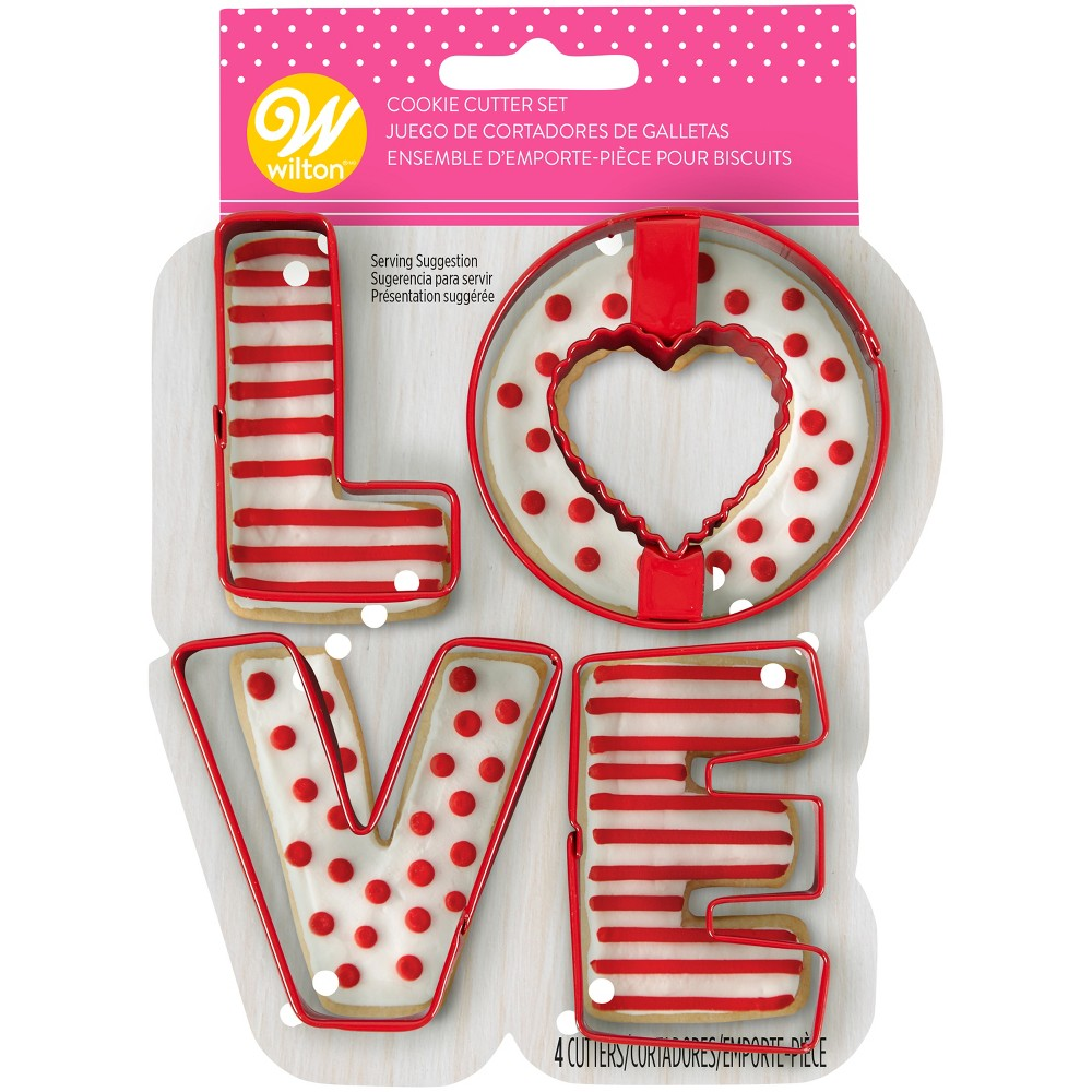 Image of 4pk Metal Love Cookie Cutters - Wilton, Multi-Colored