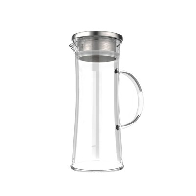 Hastings Home 50 oz. Glass Pitcher Carafe with Stainless Steel Filter Lid for Water, Coffee, Tea, Punch, Lemonade and More