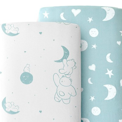 JumpOff Jo 100% Cotton Crib Sheet Set, Super Soft, Hypoallergenic, Breathable Crib Mattress Toppers, Bear & Moon, 2 Sheets