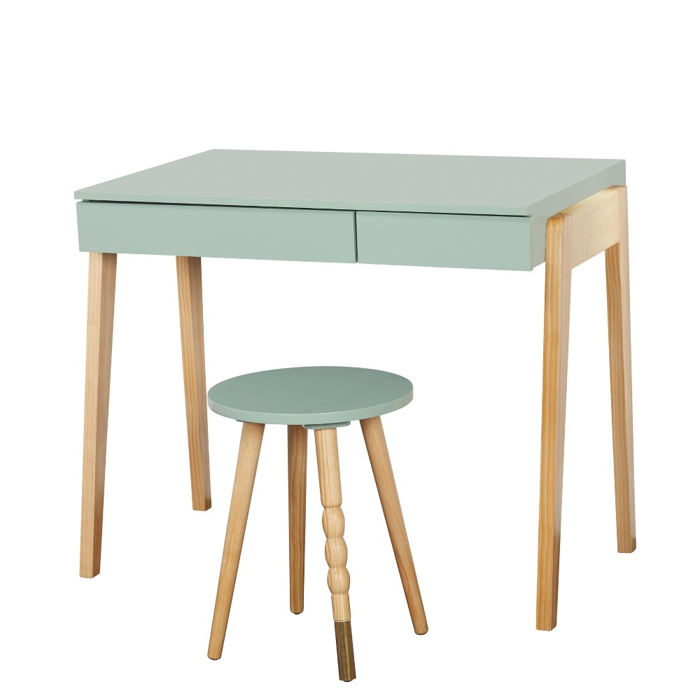 Image of Alena Desk and Stool Set Mint/Natural - Buylateral, Green