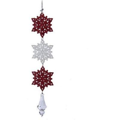 "Kurt S. Adler 8.5"" Peppermint Glitter Snowflakes Drop Christmas Ornament - Twist Red/White"