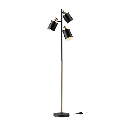 "67"" Fiona 3-Light Matte Black Track Tree Lamp with Matte Brass Accents - Novogratz x Globe"