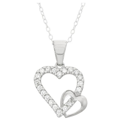 Children's Cubic Zirconia Double Heart Pendant In Sterling Silver