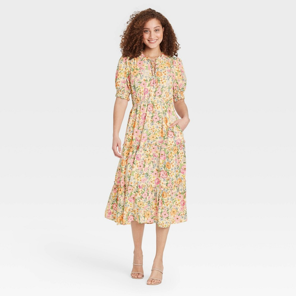 Cottagecore Clothing, Soft Aesthetic Womens Puff Elbow Sleeve Dress - Who What Wear Cream Floral XXL Ivory Floral $39.99 AT vintagedancer.com