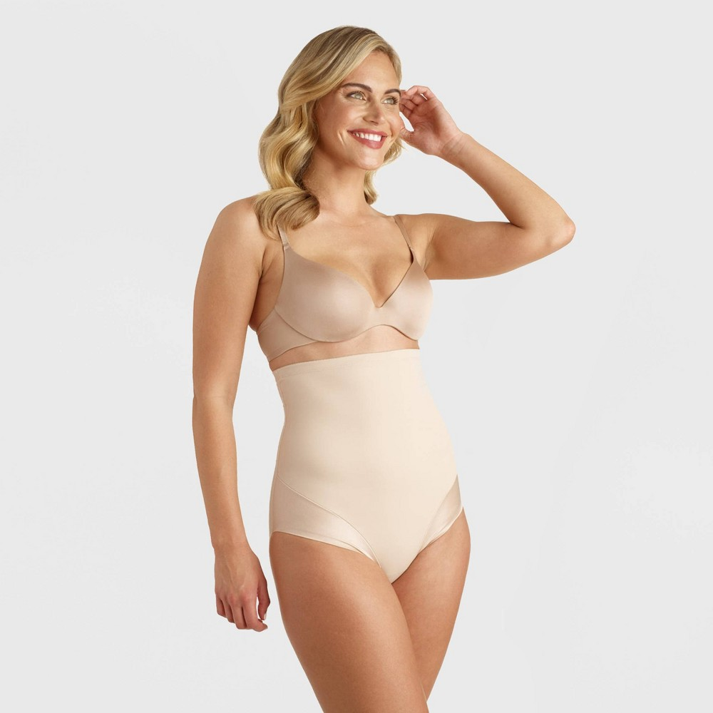 Image of SlimShaper by Miracle Brands Women's Back Magic High Waist Control Briefs - Nude M, Size: Medium