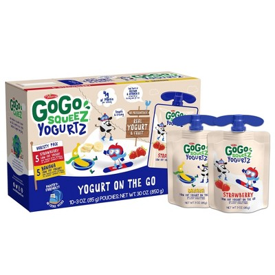GoGo SqueeZ Strawberry, Banana YogurtZ