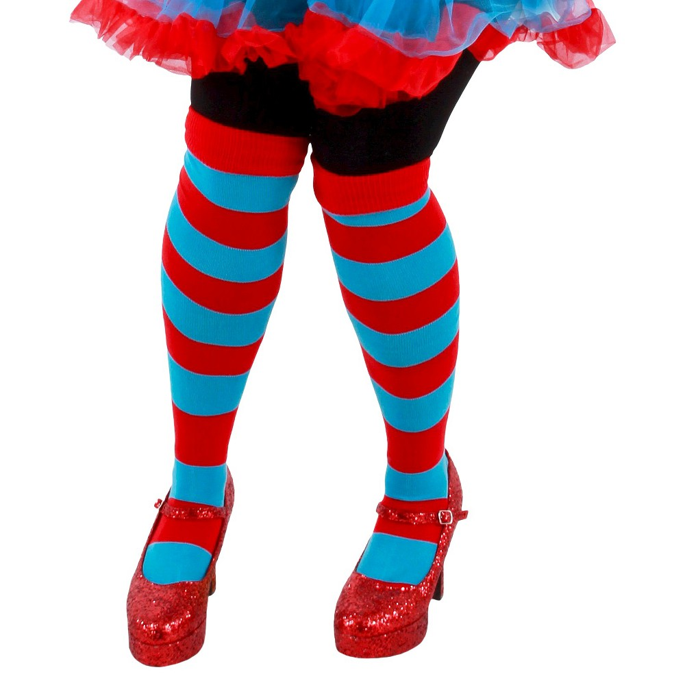 Adult Cat in the Hat Thing 1 And Thing 2 Striped Costume Knee Socks, Women's