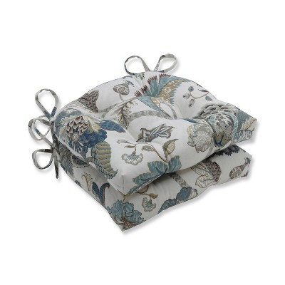 Blue Finders Keepers Reversible Chair Pad (Set Of 2)(16 X15.5 )- Pillow Perfect