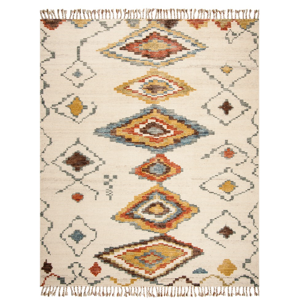 Ivory Tribal Design Knotted Area Rug 9'X12' - Safavieh, Ivorynmulti-Colored