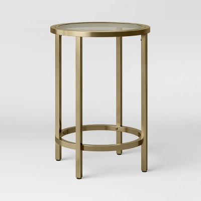 Greenwich Round Glass Top End Table with Brass Base - Threshold™