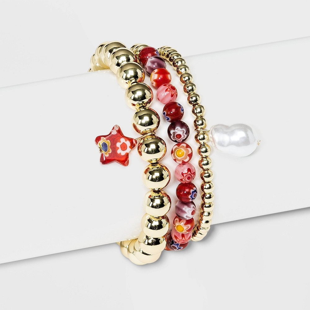 Sugarfix By Baublebar Mixed Media Beaded Bracelet Set Red