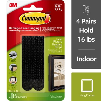 Command Large Sized Picture Hanging Strips (4 Sets of Strips)Black