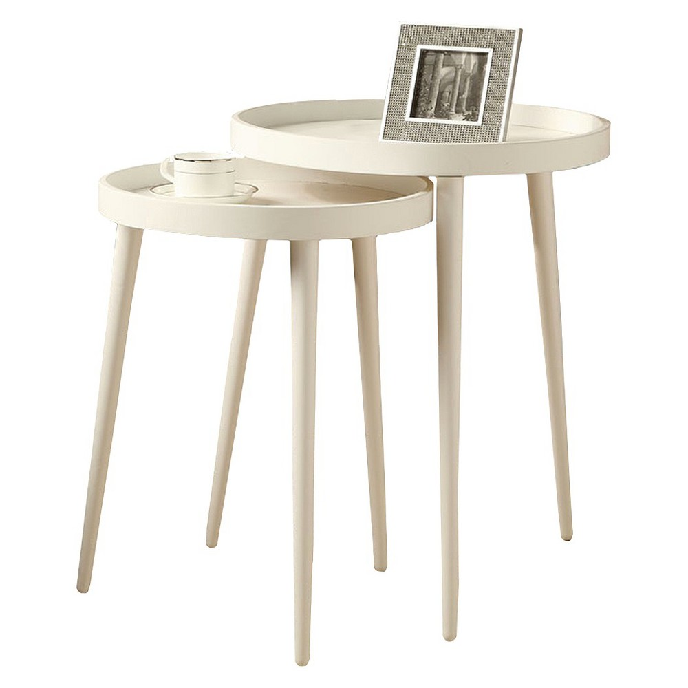 2 Piece Nesting Accent Table - White - EveryRoom