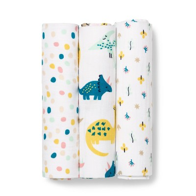 Muslin Swaddle Blanket Dinos Warm 3pk - Cloud Island™ Pink/Blue