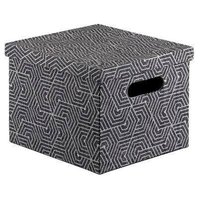 Lidded Milk Crate Storage Box 11  - Gray and Black - Room Essentials™