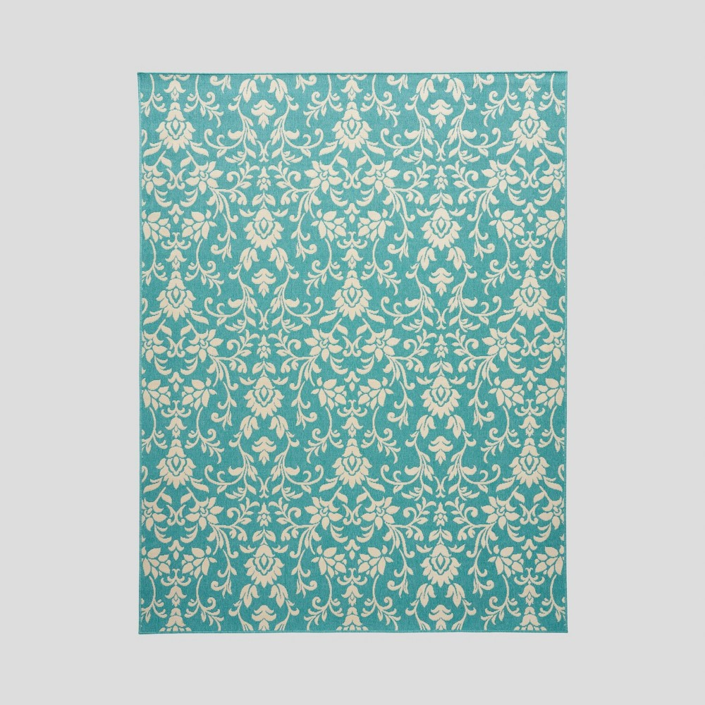 7'10 x 10' Sea Foam Botanical Outdoor Rug Blue/Ivory - Christopher Knight Home