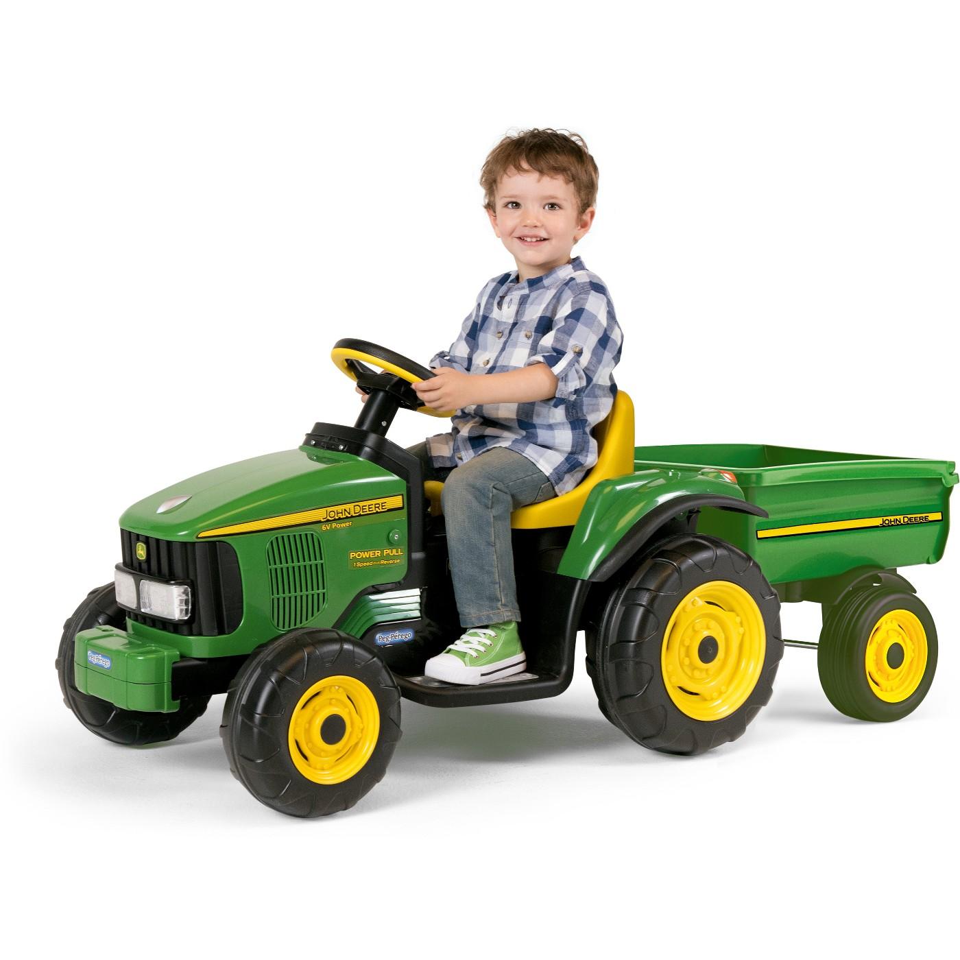 Peg Perego John Deere 6V Power Pull Tractor - Green - image 1 of 6
