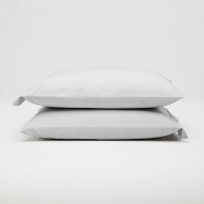 Standard Washed Supima Percale Solid Pillowcase Set Light Gray - Casaluna™