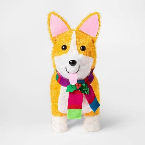 Christmas Dog.Christmas Incandescent Tinsel Corgi Dog Novelty Sculpture With 50 Lights Wondershop