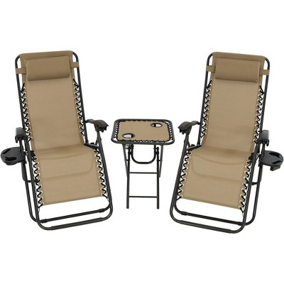 Zero Gravity Lounge Chairs and Table with Cup Holders Set - Khaki - Sunnydaze Decor