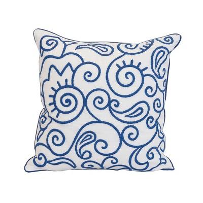 "carol & frank 18"" x 18"" Indigo Swirl Embroidered Throw Pillow"