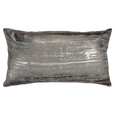 """14""""x26"""" Abstract Polyester Filled Pillow Charcoal - Rizzy Home"""