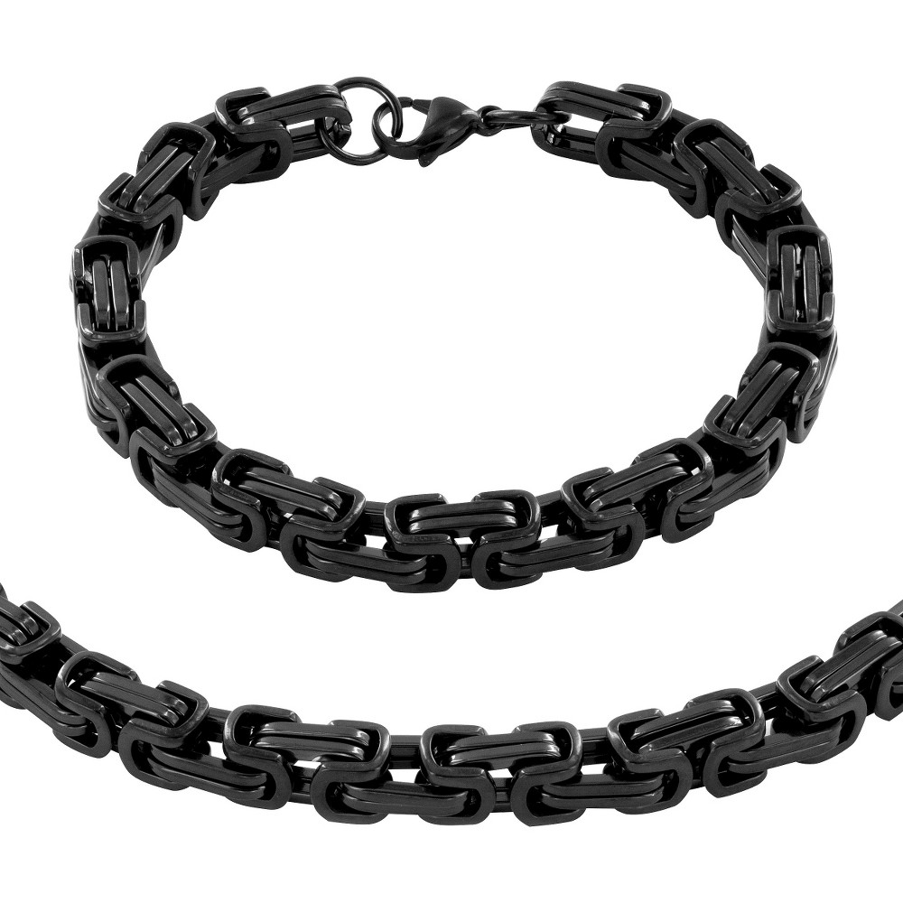 Image of Men's Stainless Steel Plated Byzantine Chain Necklace and Bracelet Set - Black, Size: Small, Black/Silver/Silver