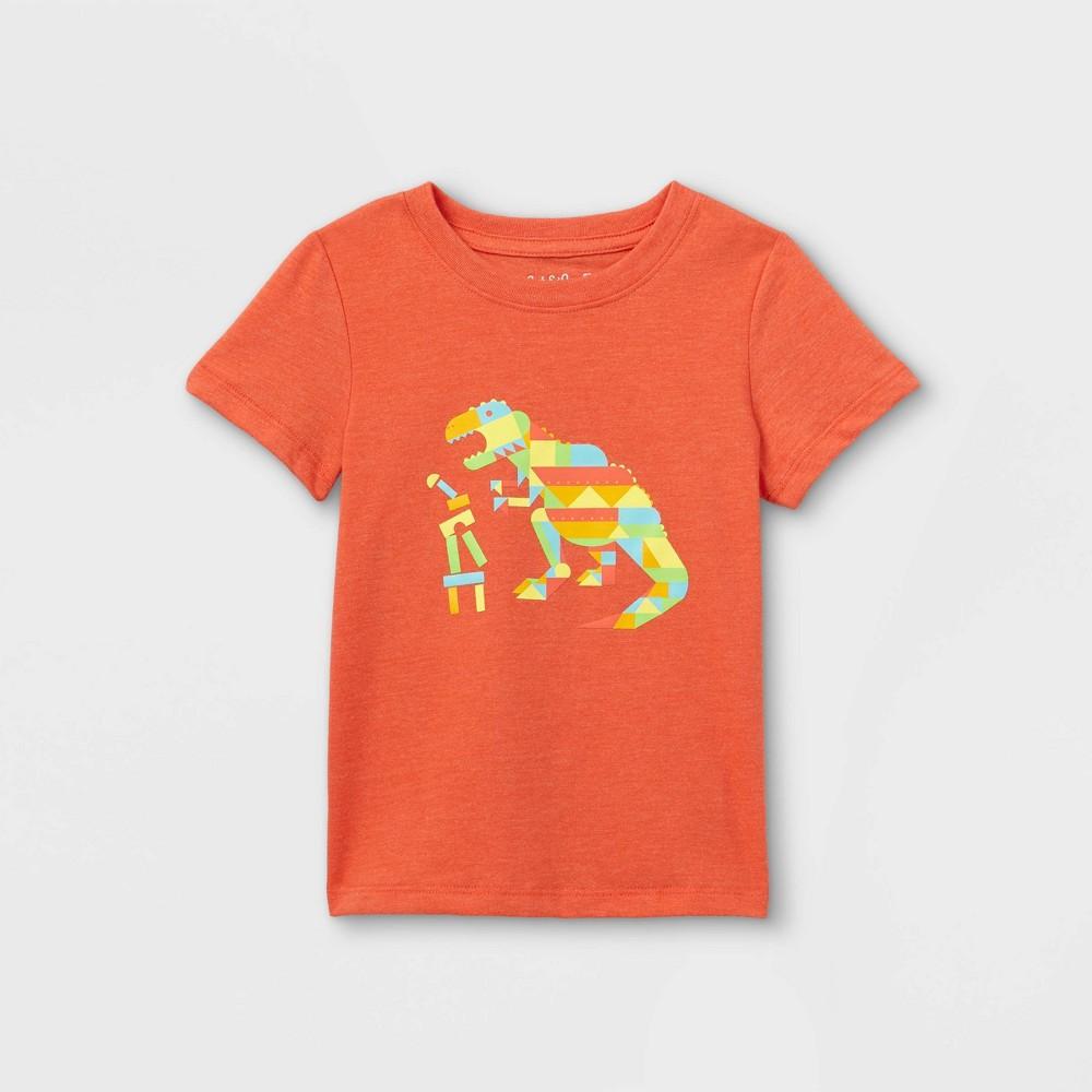 Toddler Boys 39 Dino Building Blocks Graphic Short Sleeve T Shirt Cat 38 Jack 8482 Orange 18m