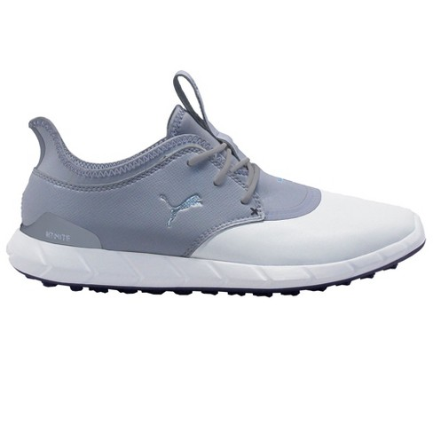 Men S Puma Ignite Spikeless Pro Golf Shoes White Quarry Silver Target