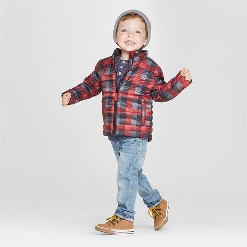 726728963 Toddler Boys  Print Midweight Puffer Jacket - Cat   Jack™ Black   Target