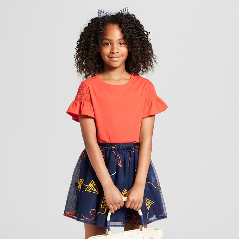 Girls' Smocked Short Sleeve Top - Cat & Jack™ - image 1 of 3